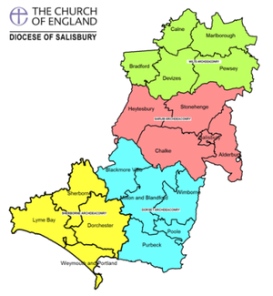 This diocesan map shows our 19 Deaneries (clusters of parishes) grouped into the Archdeaconries of Wilts (green), Sarum (pink), Sherborne (yellow) and Dorset (blue).